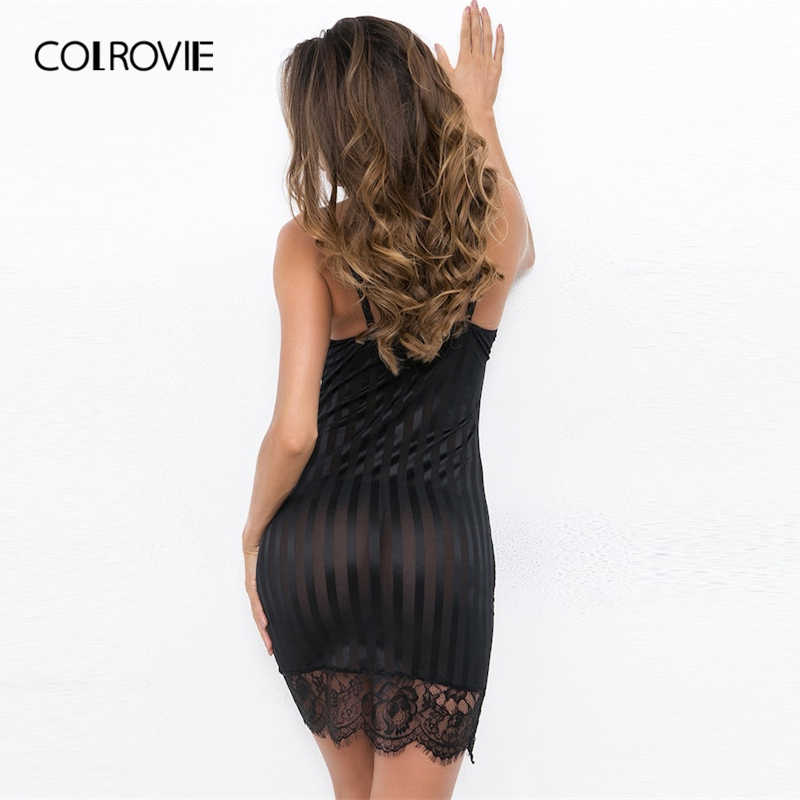COLROVIE/черное однотонное контрастное кружевное обтягивающее сексуальное платье на бретельках для женщин 2019 весеннее корейское вечернее платье без рукавов женские Клубные платья