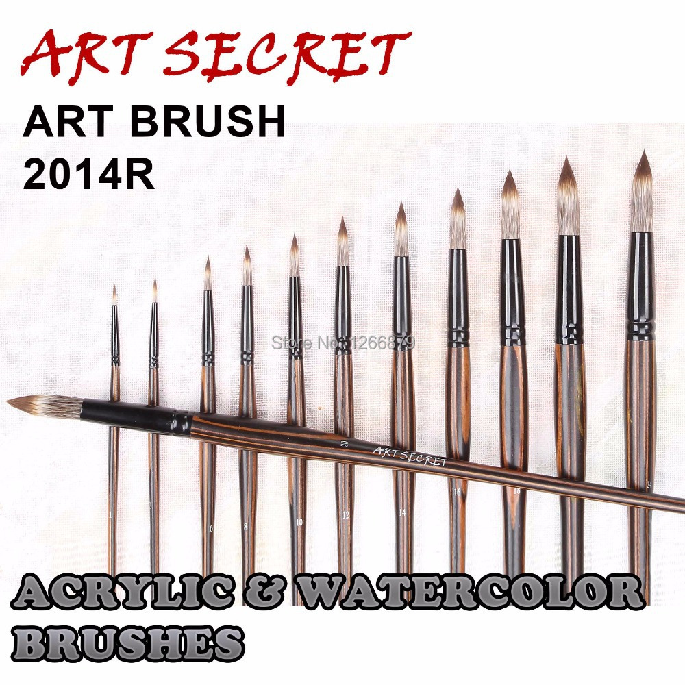 2014R High Quality Korea Importing Taklon Hair Black Brass Ferrule Wooden Handle Watercolor Acrylic Paint Art Artist Brush