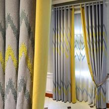 European North style Splice Embroidered linen curtains for bedroom Imitation gray yellow geometric living room