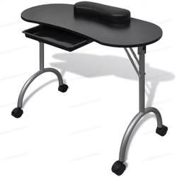 VidaXL складной черный маникюр Таблица компактный стол для маникюра с роликами маникюрное оборудование для ногтей Salon с мешком салон мебели