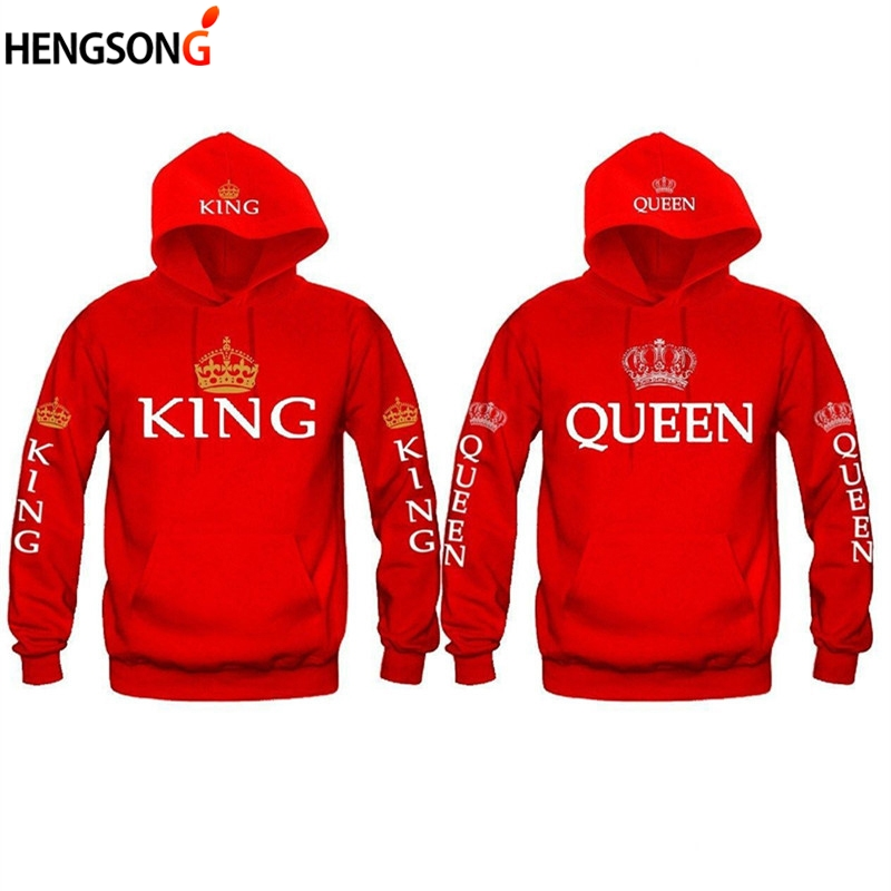 Spring New Women Men Hoodies King Queen Printed Sweatshirt Lovers Couples Hoody Sweatshirt Casual Pullover Sportswear Tracksuits