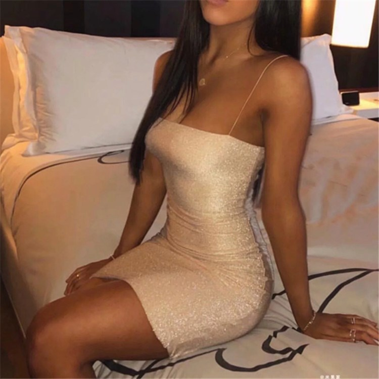 Bling Glitter Dress Women Spaghetti Strap Mini Bodycon Summer Elegant Backless Sexy Party Dresses