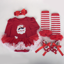 4PCS/Newborn clothing infant girl christmas clothes Long sleeve bodysuit tutu dress+shoes+headband+leggings baby layette BC1184