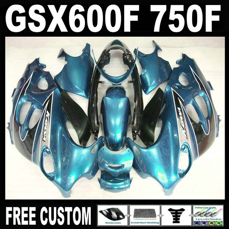 High quality plastic fairing kit for Suzuki GSX 600F 750F 95 96 97-05 blue black fairings set GSX600F 1995 1996-2005 LM19 lowest price fairing kit for suzuki gsxr 600 750 k4 2004 2005 blue black fairings set gsxr600 gsxr750 04 05 eg12