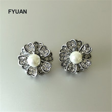 FYUAN New design vintage gold silver Flowers pearl drop earrings Rhinestones earrings for women
