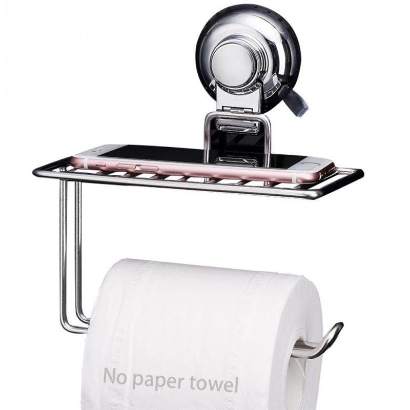 2 In 1 Stainless Steel Bathroom Toilet Paper Roll Holder Tissue Bar Holder Wall Mounted by Air Vacuum Suction Cup phone stand