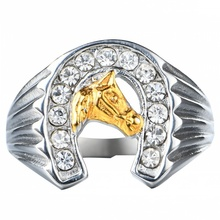 2017 Fashion Men Jewelry Stainless Steel Horse AAA Cubic Zirconia Ring size 8-15#083