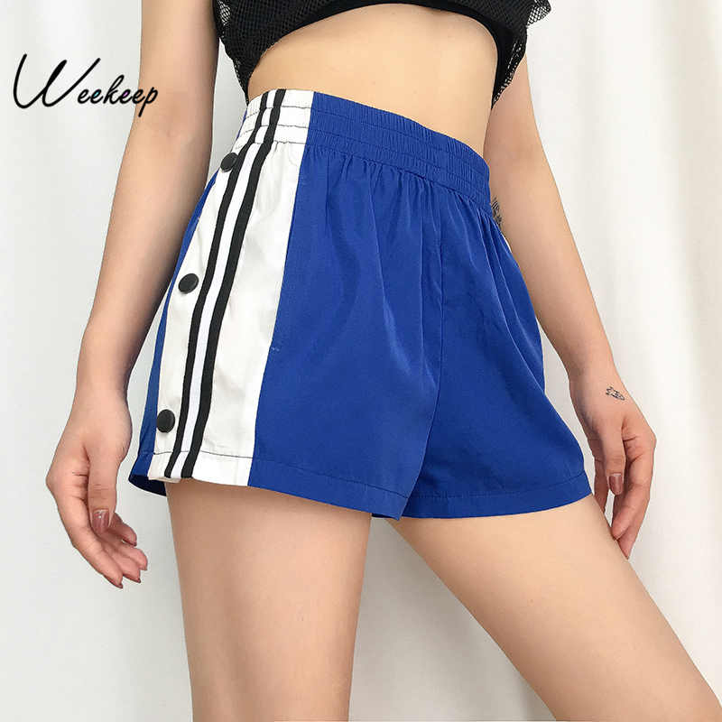 Weekeep Fashion Shorts Women Elastic-Waist Streetwear Summer Femme Button High