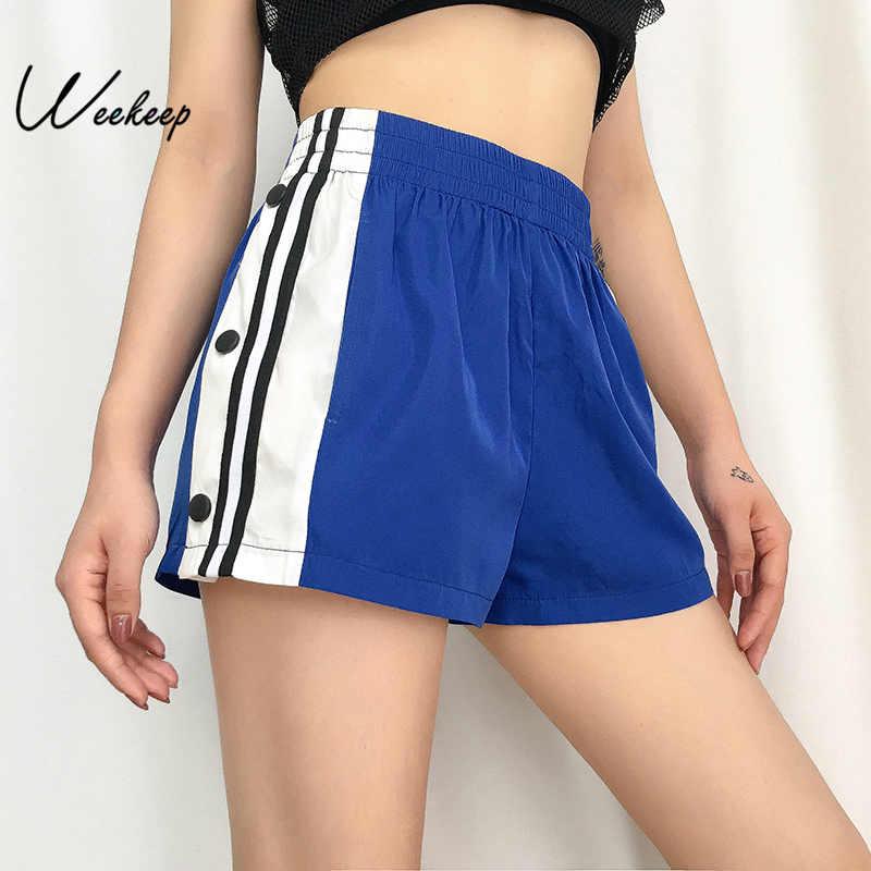 Weekeep High Waist Side Button Split Shorts Women Streetwear Elastic Waist Short Femme Summer Fashion Shorts