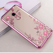 Case for Xiaomi Redmi 5A 4X 4A 4 Pro 5 Plus Flower Bling Diamond Soft TPU Silicone cover for Redmi Note 4X 5A 4 Global Version(China)