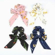 Korean Women Striped Hair Scrunchies Bowknots Metal Ponytail Holder Elastic Hairbands Ties rope for Girls Accessories