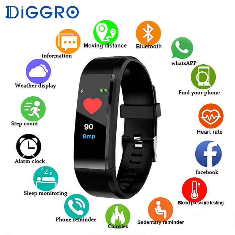 ID115HR Plus Smart Watch Men Women Waterproof Sport Blood Pressure Fitness Tracker Heart Rate Monitor Camera for ios android