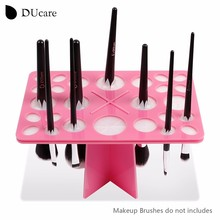 DUcare Makeup Brushes Holders Acrylic Dry Brushes Rack Convenient And Practical Hanging Brushes Drying Artifact Pink