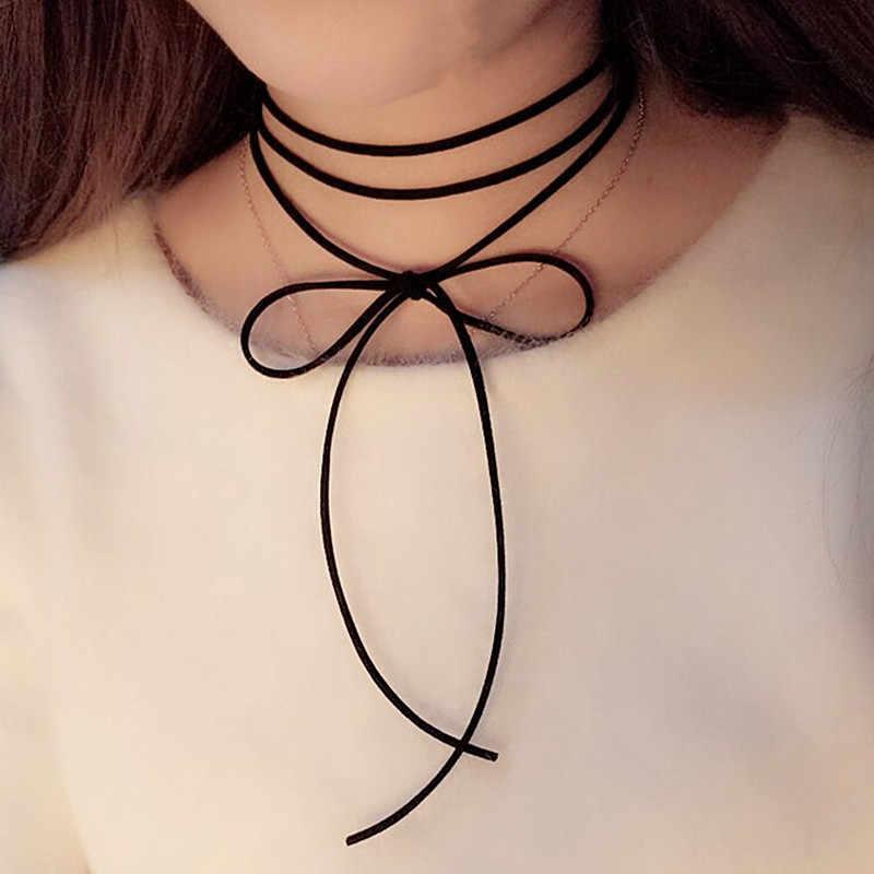 أنيقة طويلة موضة الأسود براون الجلود الحبل النحاس أنبوب سلسلة مجوهرات اكسسوارات قلادة المختنق قلادة المرأة x169