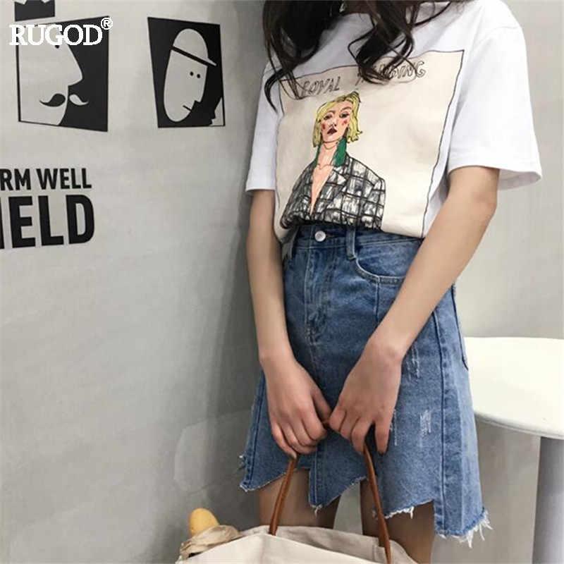8cf734ea ... RUGOD 2018 Women Tops Fashion Candy Color Cartoon Print T Shirt Women  Summer Casual O- ...