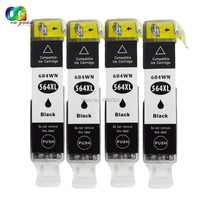 4 New GEN Chip High Yield Black Ink Cartridge 564 564XL Compatible For HP PhotoSmart 7510
