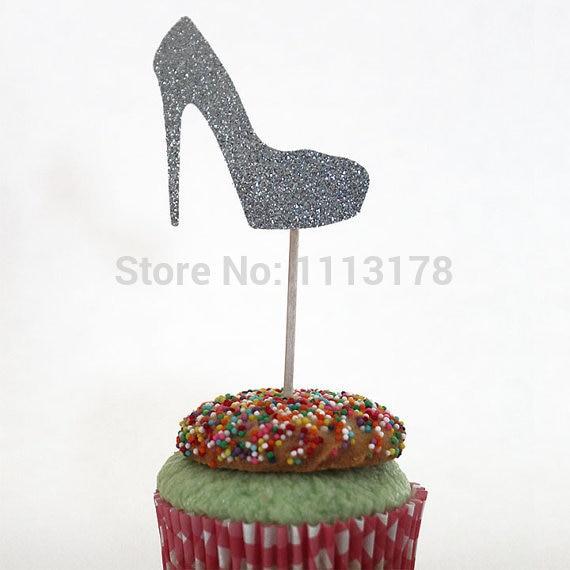 Tremendous Glitter Silver Glitter High Heel Cupcake Topper Baby Bridal Shower Birthday Cards Printable Inklcafe Filternl