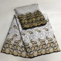 Latest white Bazin Riche Fabric New Embroidered Bazin Riche Getzner For Men Or Women Colth 5 Yard +2 Yard Cotton Tulle Lace