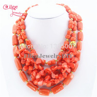 Best Selling Orange Coral Necklace Holiday Party Necklace Nigerian Beads Coral Jewelry Necklace Bridesmaid Gift Bridal Jewelry