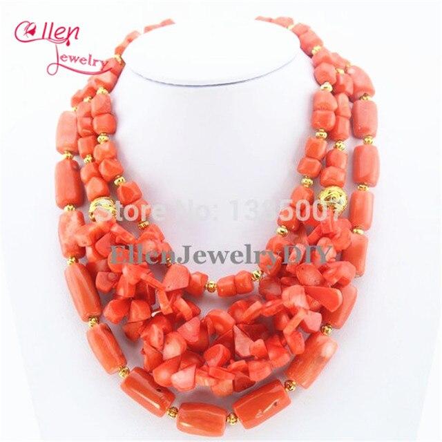 best selling orange coral colar holiday party colar nigeriano contas