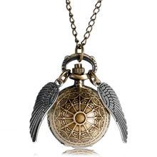 b67752ec5000 Retro reloj Harri Potter collar reloj de bolsillo Vintage soplón bola de oro  de bronce de