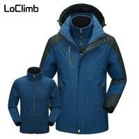 LoClimb 3 In 1 Windbreaker Men's Winter Hiking Jacket Men Polar Fleece Lining Ski Coat Outdoor Trekking Wateproof Jackets AM344