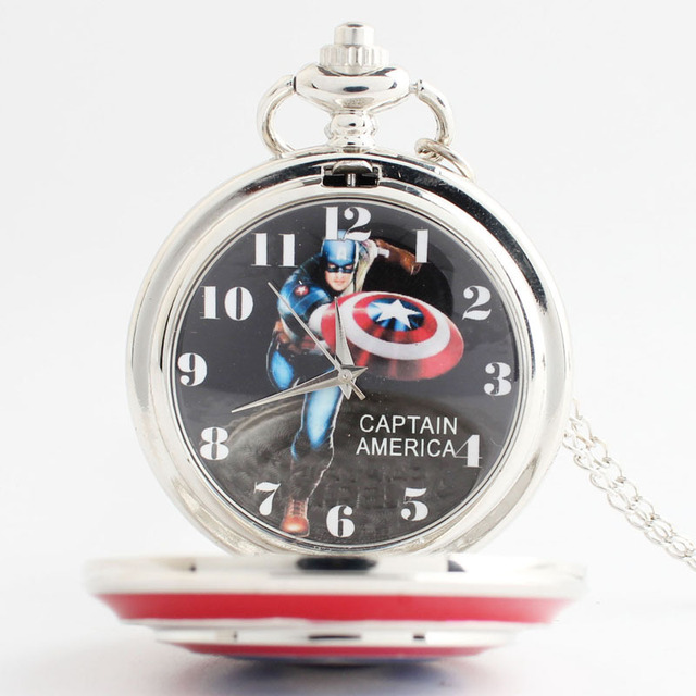 Captain America Vintage Steampunk Pocket Watch Chain Necklace Women Men Silver Q