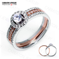 RSZY2050 Grade AAA+ CZ Diamond 100% 925 Sterling Silver Jewellery Sparkling Shining Two Tones Engagement Bridal Ring Set