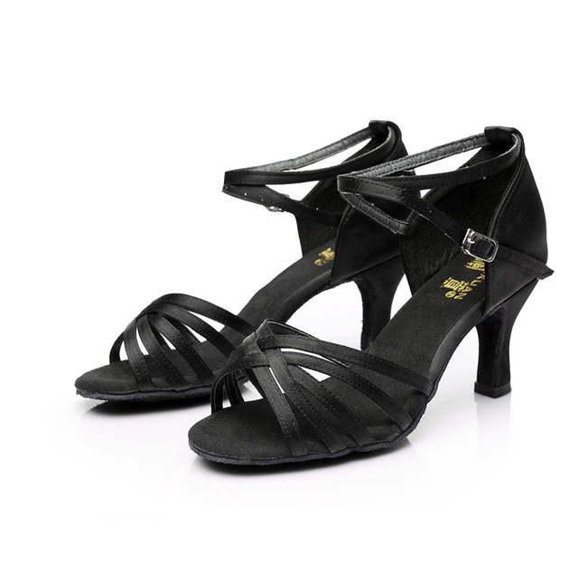 ad2b35062c2778 Łacińskiej standardowe buty damskie dziewczyny sandały wysokie obcasy  satyna/ze sztucznej skóry klamra Nude/czarny/brązowy do tańca towarzyskiego  do tańca ...