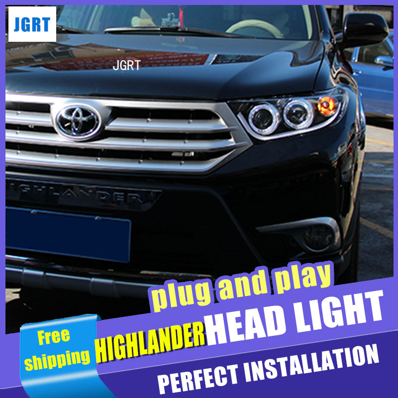 car styling For Toyota Highlander headlight assembly angel eyes 2012-2014 For Highlander xenon lens h7 xenon