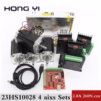 57 motor CNC Router 4 Axis kit, 4pcs TB6600 Stepper motor driver+ breakout board+ 4pcs Nema23 425 Oz in motor +350W power supply