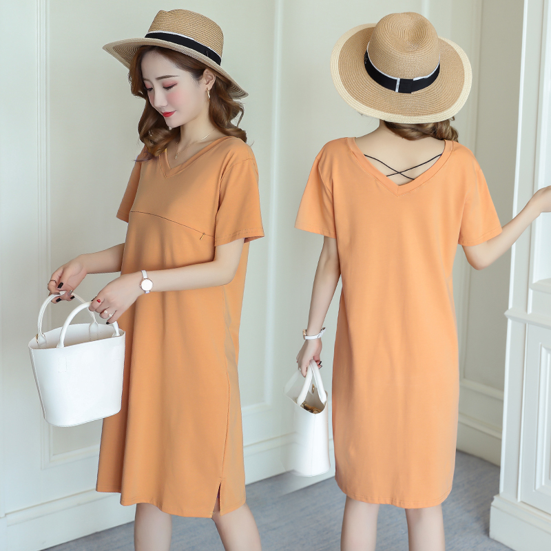 Nursing Dress Women Short Sleeve Breastfeeding Summer V Neck ...