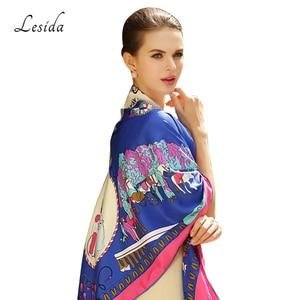 Image 5 - 2020 Vintage Square Silk Printed Bandanas for Women Luxury Brand Pashmina Scarf Shawl Twill Silk Bandana Wholesale 130*130cm