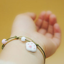2018 Original vintage Ceramics cat beads Girl Bracelet Good Lucky cute rabbit Lover Lovers Jewelry gift