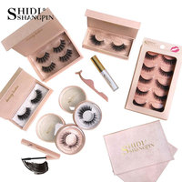 SHIDISHANGPIN Eyelashes Kit 3d Mink Long Lashes Natural Lasting Fake Lash Glue for Eyelash Mascara Makeup Lashes Extension Tools
