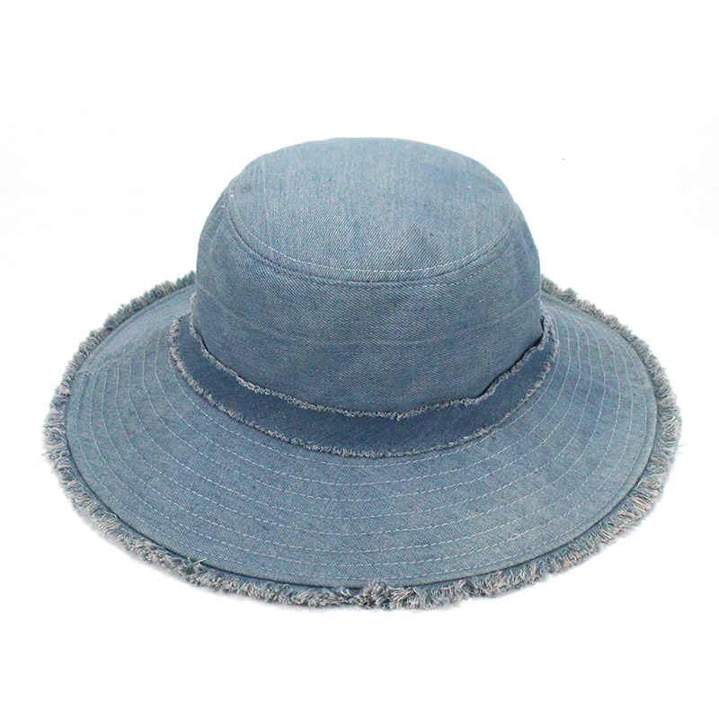 065238db ... Womens Denim Bucket Hat Male Korean Style Casual Cowboy Fishing Caps  Fashionable Spring Summer Cool Jeans ...