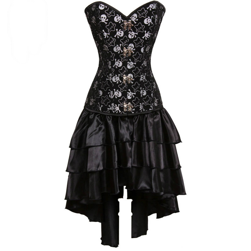 Black Pirate Skull Print Victorian Corsets And Bustiers Steampunk Corset Dress Gothic Clothing Sexy Burlesque Costumes For Women ヘッドスパ 用 シャンプー 台