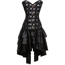 Black Pirate Skull Print Victorian Corsets And Bustiers Steampunk Corset Dress Gothic Clothing Sexy Burlesque Costumes For Women