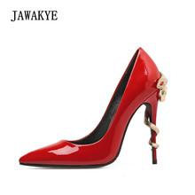 Pumps Wedding-Shoes Rhinestone Snake Pointed-Toe Woman Lady Newest Metal Sexy Red Patent