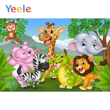 Yeele Safari Cartoon Animals Baby Children Portrait Scenic Photography Backgrounds Vinyl Photographic Backdrops For Photo Studio