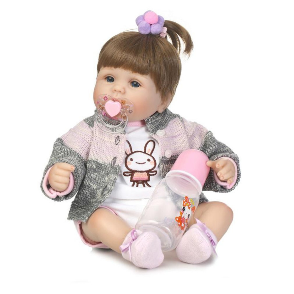 40cm Cloth Body Soft Silicone Vinyl Baby Doll Lifelike Newborn Baby Doll Toys Reborn Baby Doll Playmate Gift Alive Toys Doll 40cm 3d princess girl doll cute lifelike simulation reborn baby doll soft silicone kids playmate cloth doll toys birthday gift