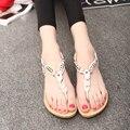 2016 estilo verão sandálias de strass das mulheres planas sapatos sandálias moda flip flop sapatos confortáveis mulher BT483