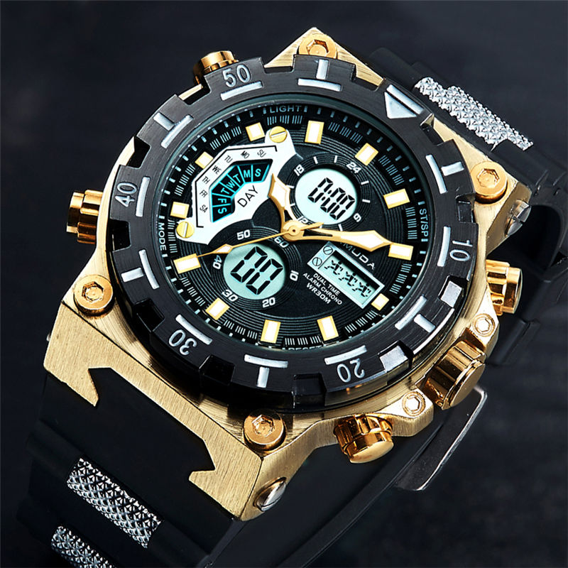 2018 AMUDA Quartz Watches Men Sport Relogio Masculino Top Luxury Brand Digital Male Gold Wrist Watch Led Waterproof Hour Clock 2018 amuda gold digital watch relogio masculino waterproof led watches for men chrono full steel sports alarm quartz clock saat