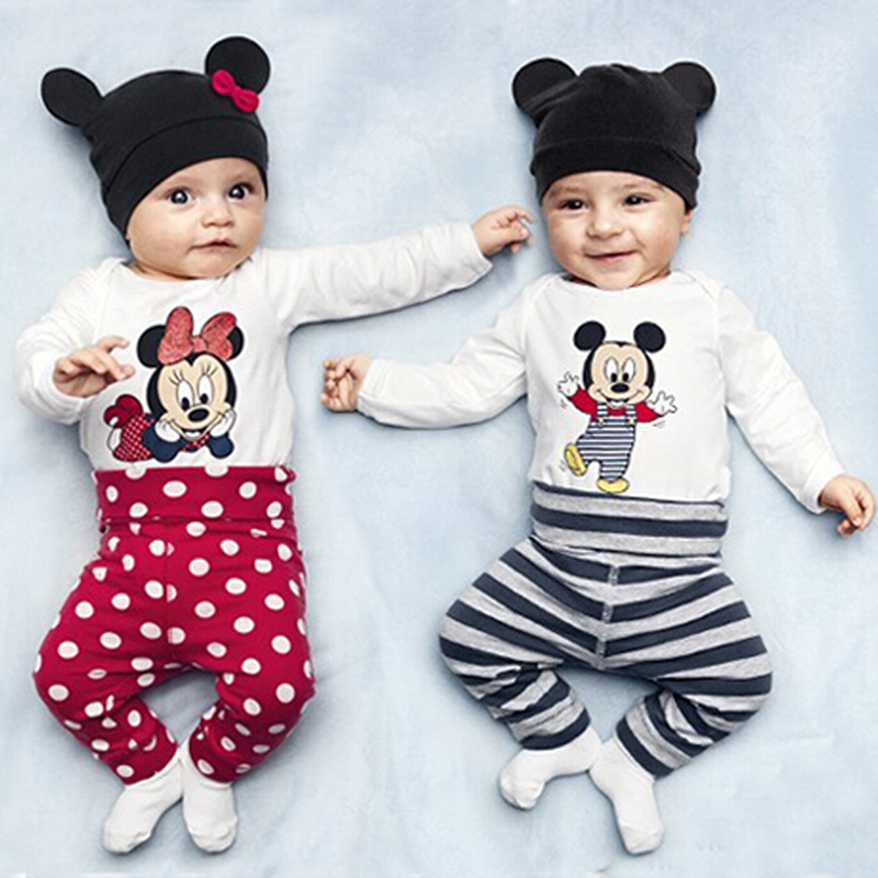 Mickey Minnie Baby   Rompers   Long Sleeve Baby Girl Clothes Cotton Baby Boy Clothing Cartoon Newborn   Rompers  +Hat+Pant Kids Jumpsuit