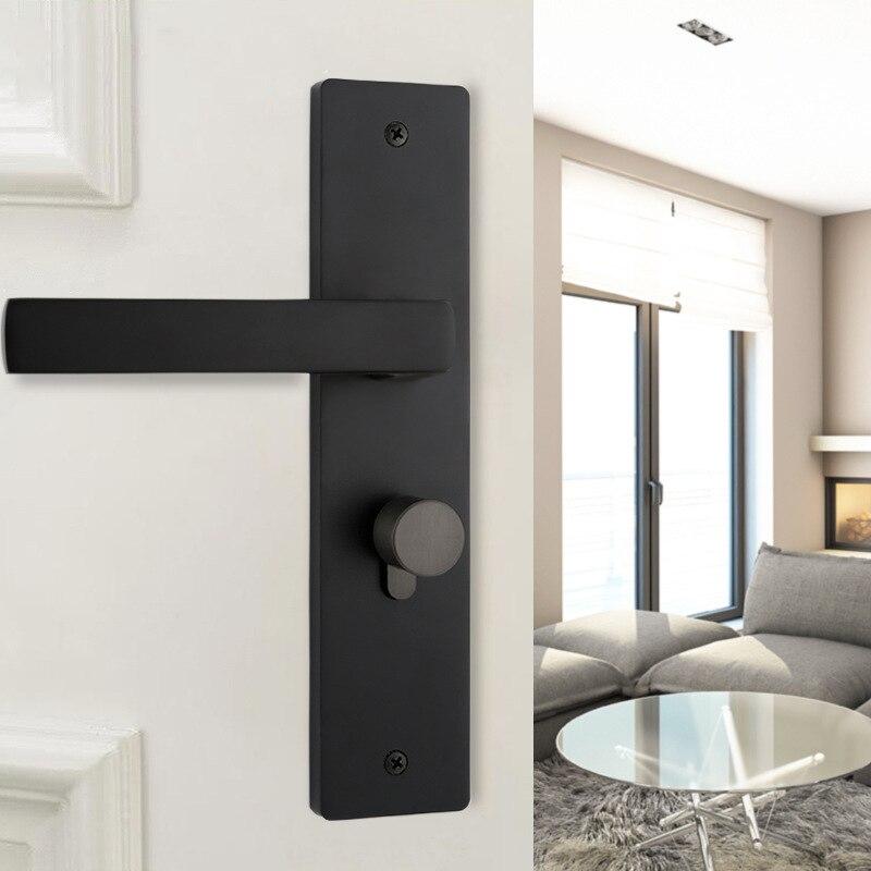 Serrure de porte coulissante américaine moderne en alliage de Zinc noir Puerta serrure de porte intérieure pour portes en bois poignée de meubles serrures
