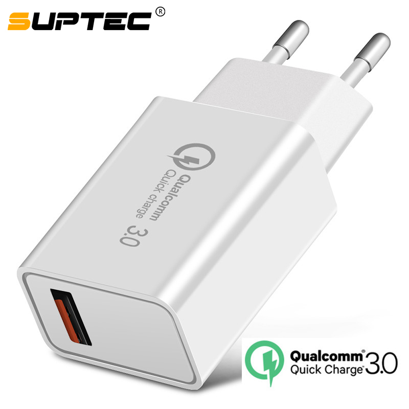SUPTEC 18 W USB Quick charge 3,0 5V 3A Für Iphone 7 8 Plus X QC 3,0 Telefon Ladegerät für Xiaomi Mi8 Samsug s8 s9 Huawei mate 20 pro