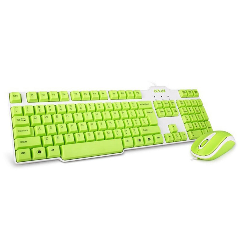 NEW Delux K9010+M105 Mint Green USB Wired 1000DPI optical mouse keyboard combo waterproof laser keycaps for home office PC gamer
