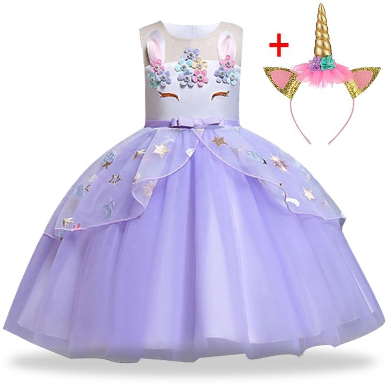 HTB1R4YQaEzrK1RjSspmq6AOdFXaf Unicorn Dress Birthday Kids Dresses For Girls Costume Halloween Christmas Dress Children Party Princess Dresses Elsa Cinderella