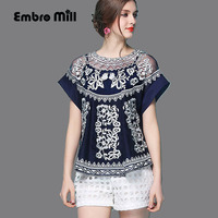 Summer embroidery lace women's shirts The bat sleeve loose two piece outfit retro lady blouse top Short sleeve shirt female