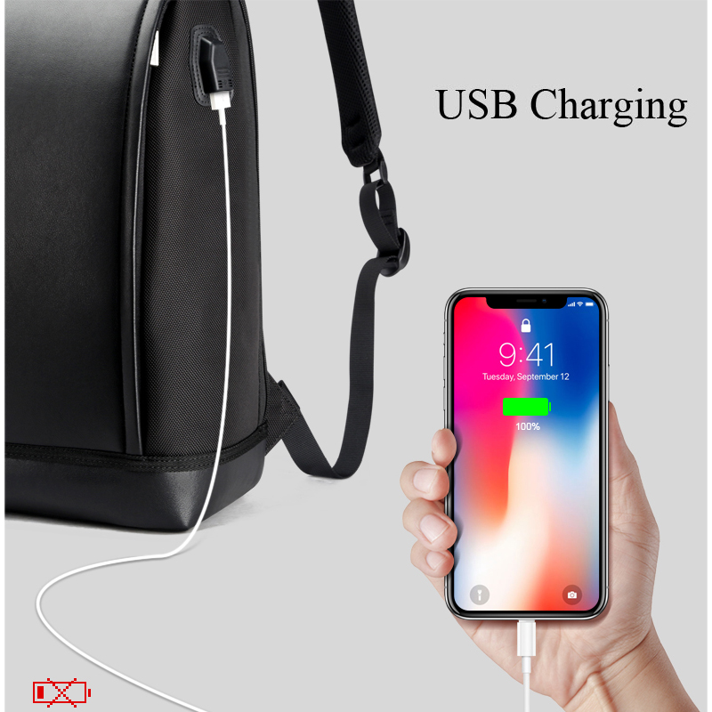 BOPAI Laptop Backpack External USB Charge Port for 15.6 inch Computer Backpacks Anti theft Waterproof Bags for Men Drop Shipping-in Backpacks from Luggage & Bags    2